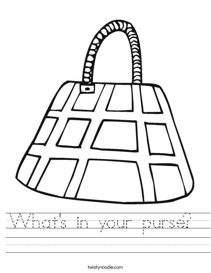 What's in your purse?  Worksheet