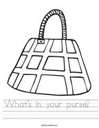 What's in your purse  Handwriting Sheet
