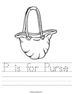 P is for Purse Handwriting Sheet