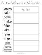 Put the AKE words in ABC order Coloring Page