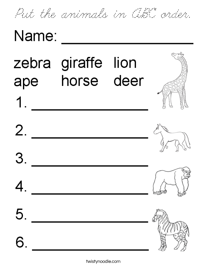 cursive letters in abc order put the animals in abc order coloring page cursive 13801