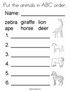 Put the animals in ABC order Coloring Page