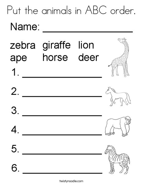 Put the animals in ABC order. Coloring Page