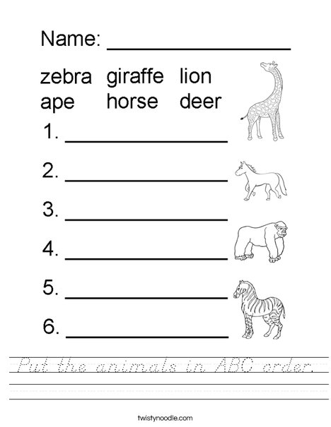 Put the animals in ABC order. Worksheet