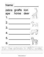 Put the animals in ABC order Handwriting Sheet