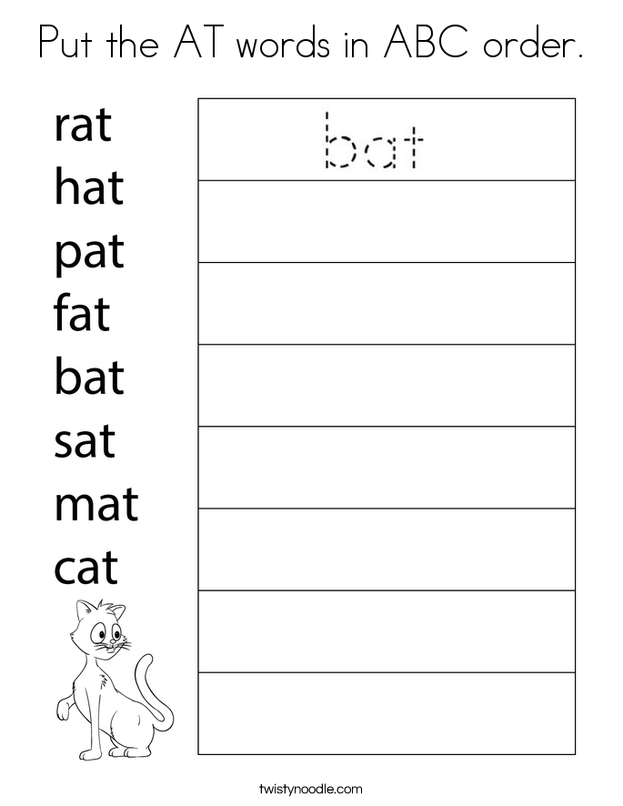 Put the AT words in ABC order. Coloring Page