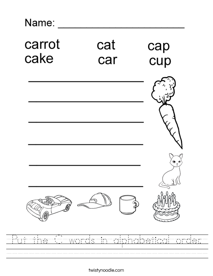 Worksheet Alphabetical Order Worksheets abc order worksheets twisty noodle put the c words in alphabetical handwriting sheet
