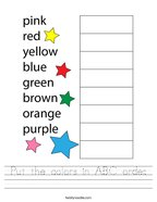 Put the colors in ABC order Handwriting Sheet