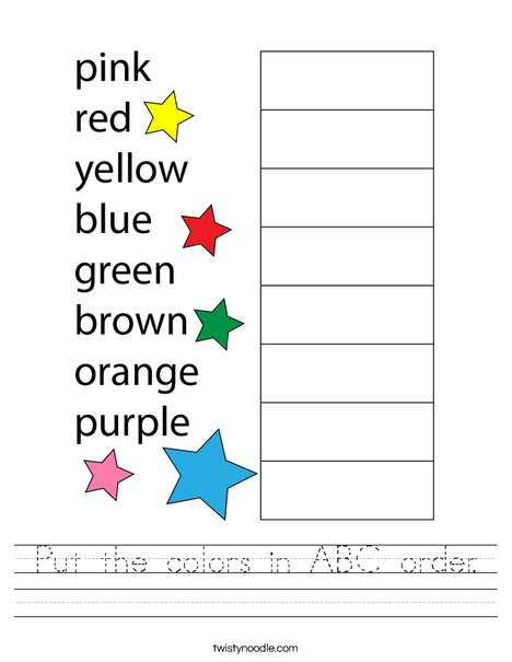 Put the colors in ABC order. Worksheet