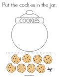 Put the cookies in the jar. Coloring Page