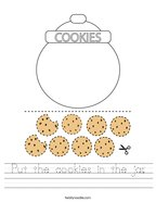 Put the cookies in the jar Handwriting Sheet