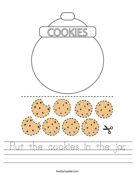 Put the cookies in the jar. Worksheet