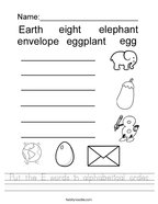 Put the E words in alphabetical order Handwriting Sheet