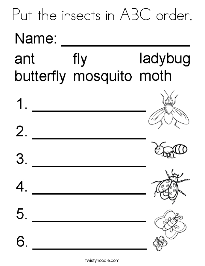Put the insects in ABC order. Coloring Page