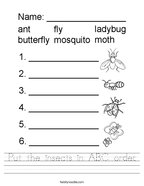 Put the insects in ABC order Handwriting Sheet
