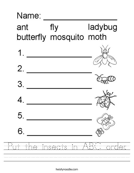 Put the insects in ABC order. Worksheet