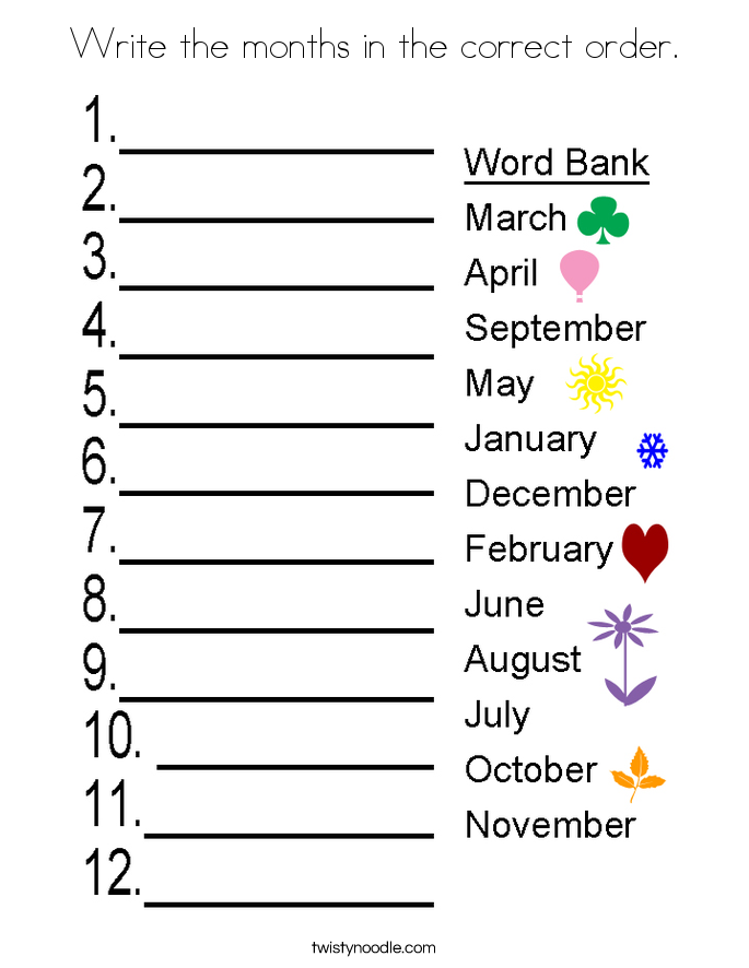 Write the months in the correct order. Coloring Page