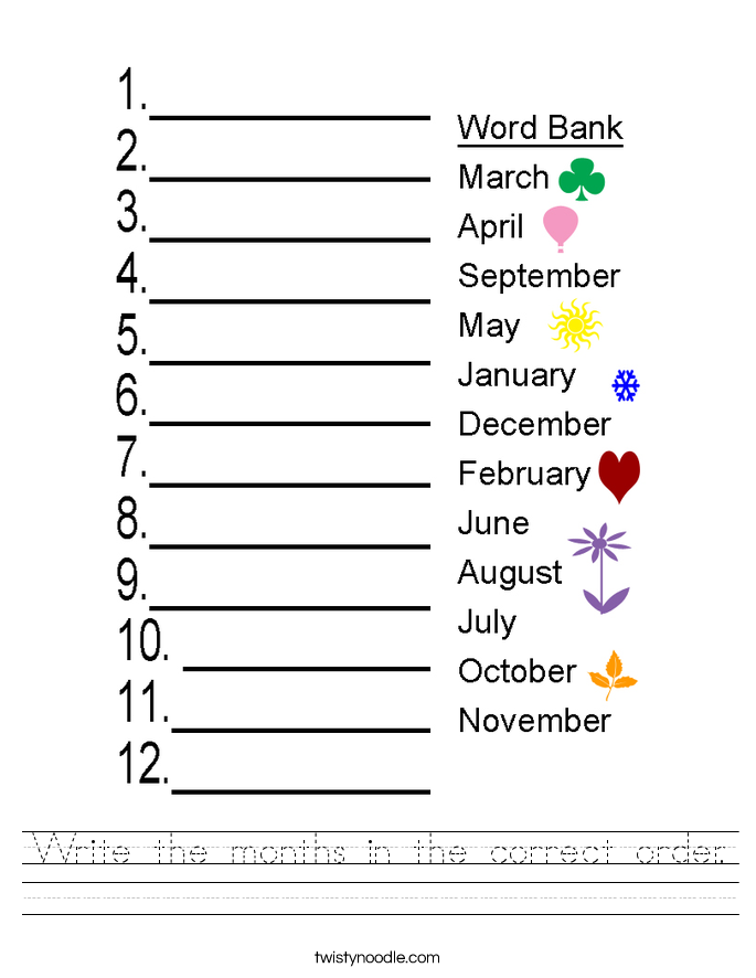 Write the months in the correct order. Worksheet