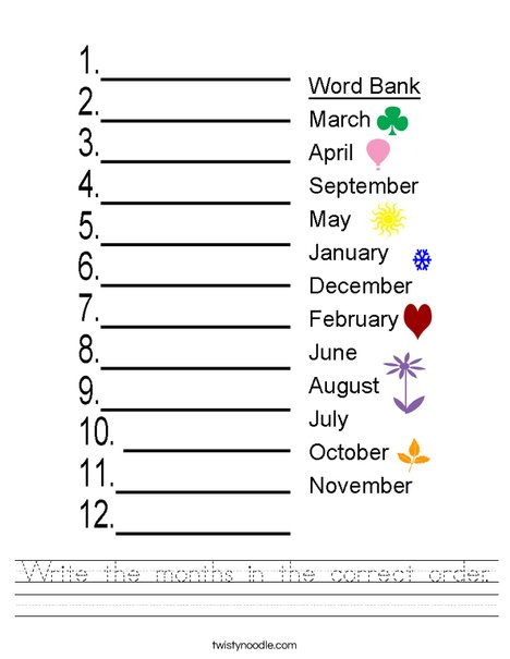Put the months in the correct order. Worksheet
