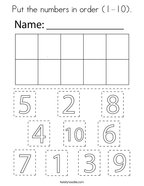 Put the numbers in order (1-10) Coloring Page