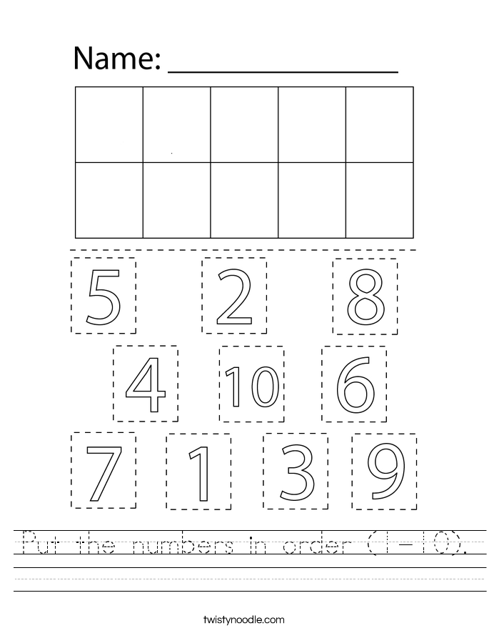 Put the numbers in order (1-10). Worksheet