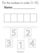 Put the numbers in order (1-5) Coloring Page