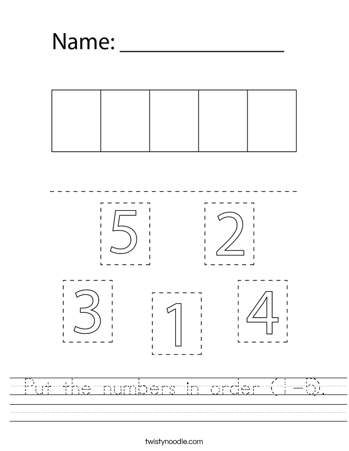 Put the numbers in order (1-5). Worksheet