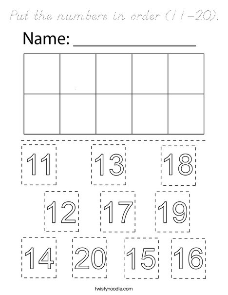 Put the numbers in order (11-20). Coloring Page
