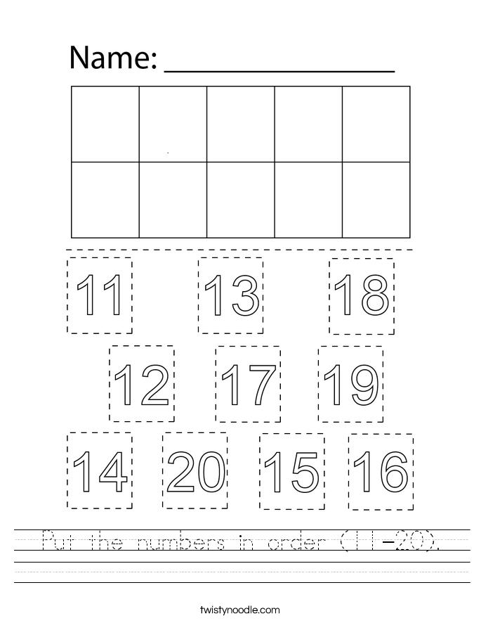 Put the numbers in order (11-20). Worksheet