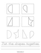 Put the shapes together Handwriting Sheet