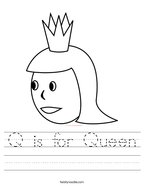 Q is for Queen Handwriting Sheet