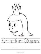 Q is for Queen Handwriting Sheet