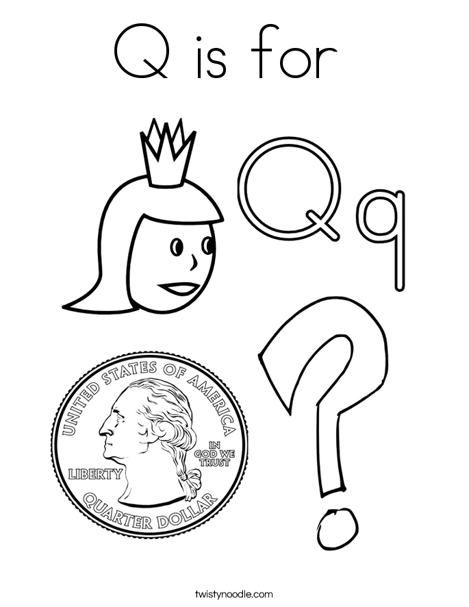 Letter Q Coloring Pages  Twisty Noodle