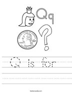 Q is for  Handwriting Sheet
