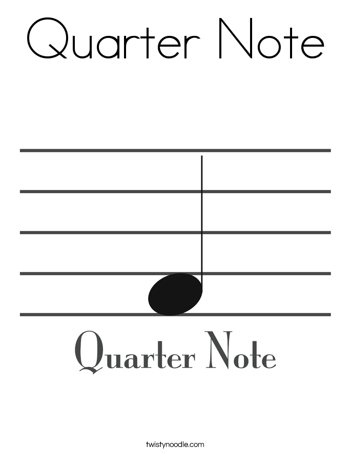 Quarter Note Coloring Page.