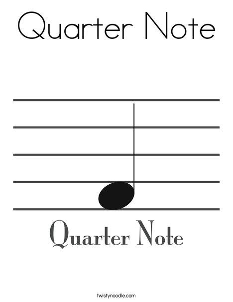 Quarter Note Coloring Page - Twisty Noodle