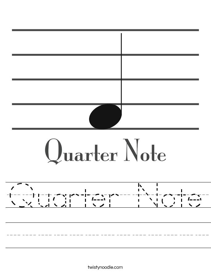 Quarter Note Worksheet - Twisty Noodle