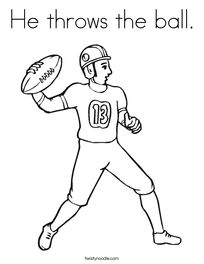 He throws the ball. Coloring Page