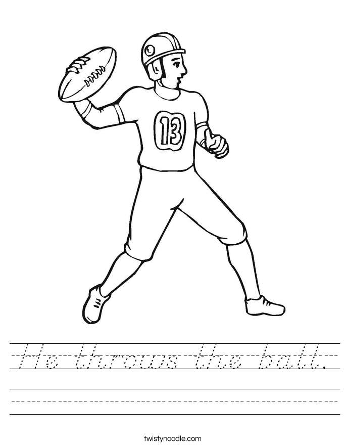 He throws the ball. Worksheet