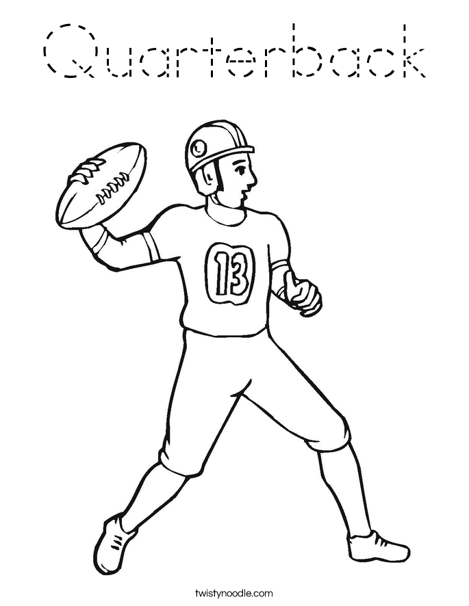 Quarterback Coloring Page - Tracing - Twisty Noodle