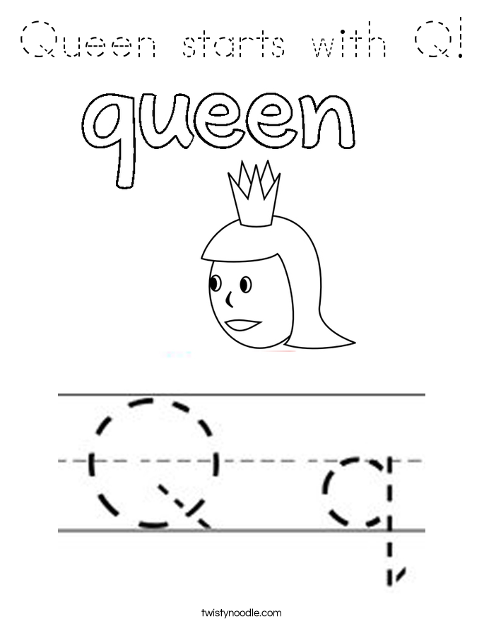 queen-starts-with-q-3_coloring_page-blockoutline Queen Letter Q Template on is for quail, lower case, queen craft, lower case alphabet, kindergarten crafts,