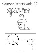 Queen starts with Q Coloring Page
