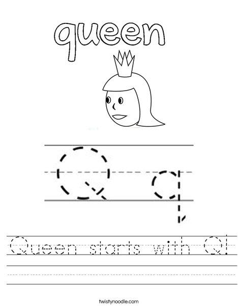 Queen starts with Q! Worksheet