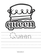 Queen Handwriting Sheet