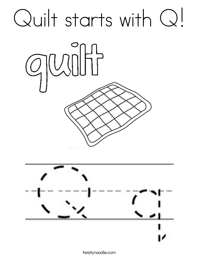 Quilt starts with Q! Coloring Page