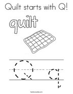 Quilt starts with Q Coloring Page