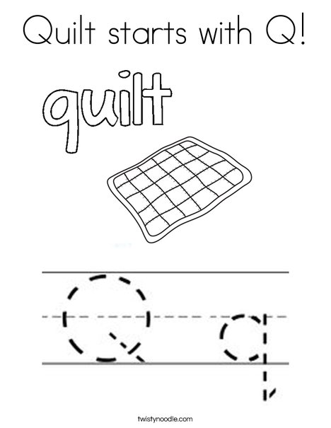 Quilt starts with Q Coloring Page - Twisty Noodle