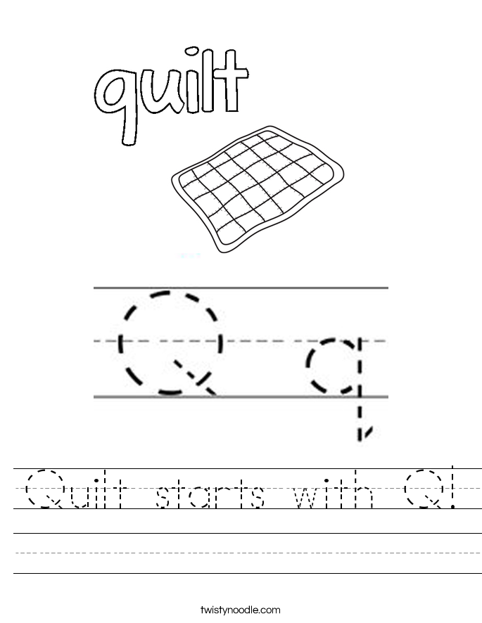 Quilt starts with Q! Worksheet