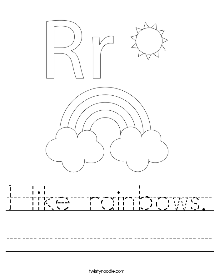 I like rainbows Worksheet Twisty Noodle – Play School Worksheets