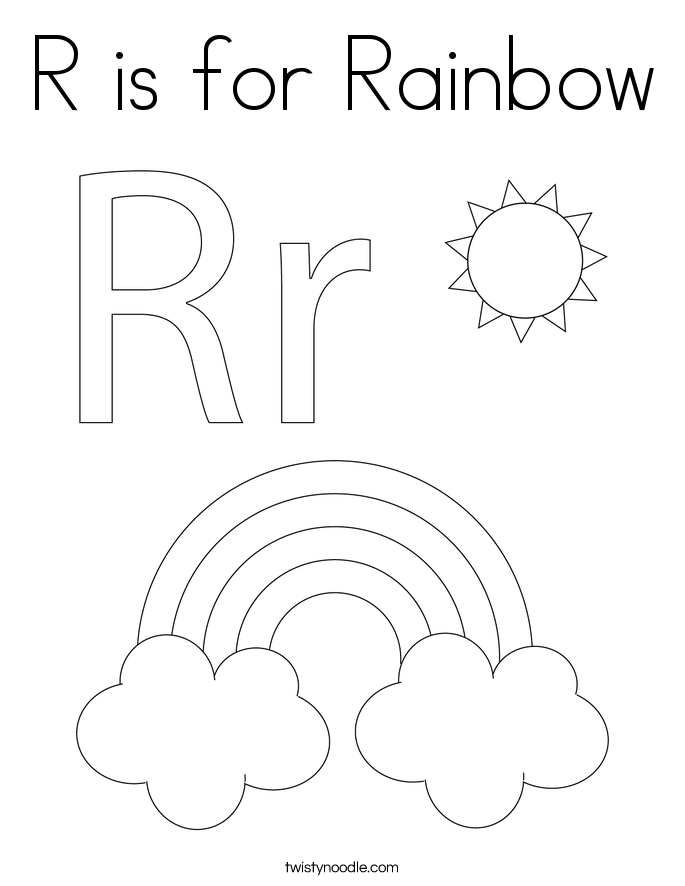 R is for Rainbow Coloring Page Twisty Noodle